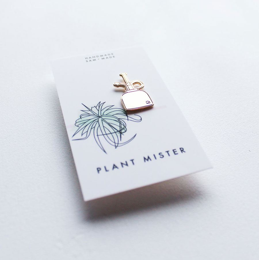 Gold Plant Mister Pin