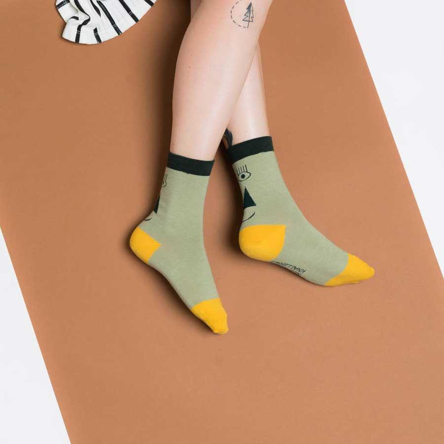 Friendly Socks Back Face Green