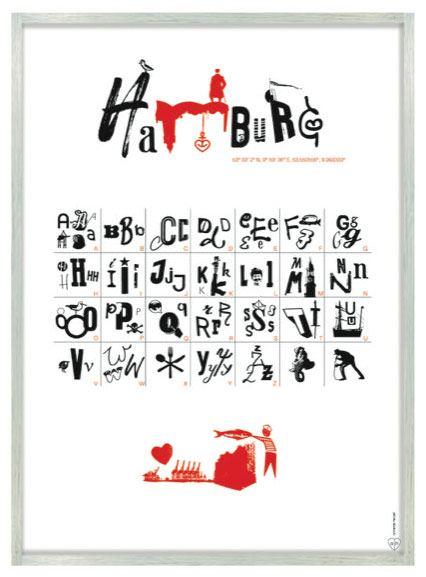 Hamburg Poster Rot Schwarz (50x70cm)