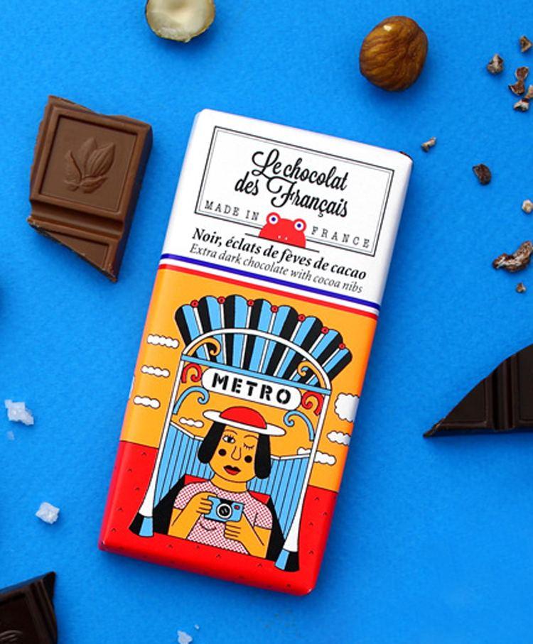Le Métro Dunkle Schokolade mit Kakaobohnen-Nips (30g)