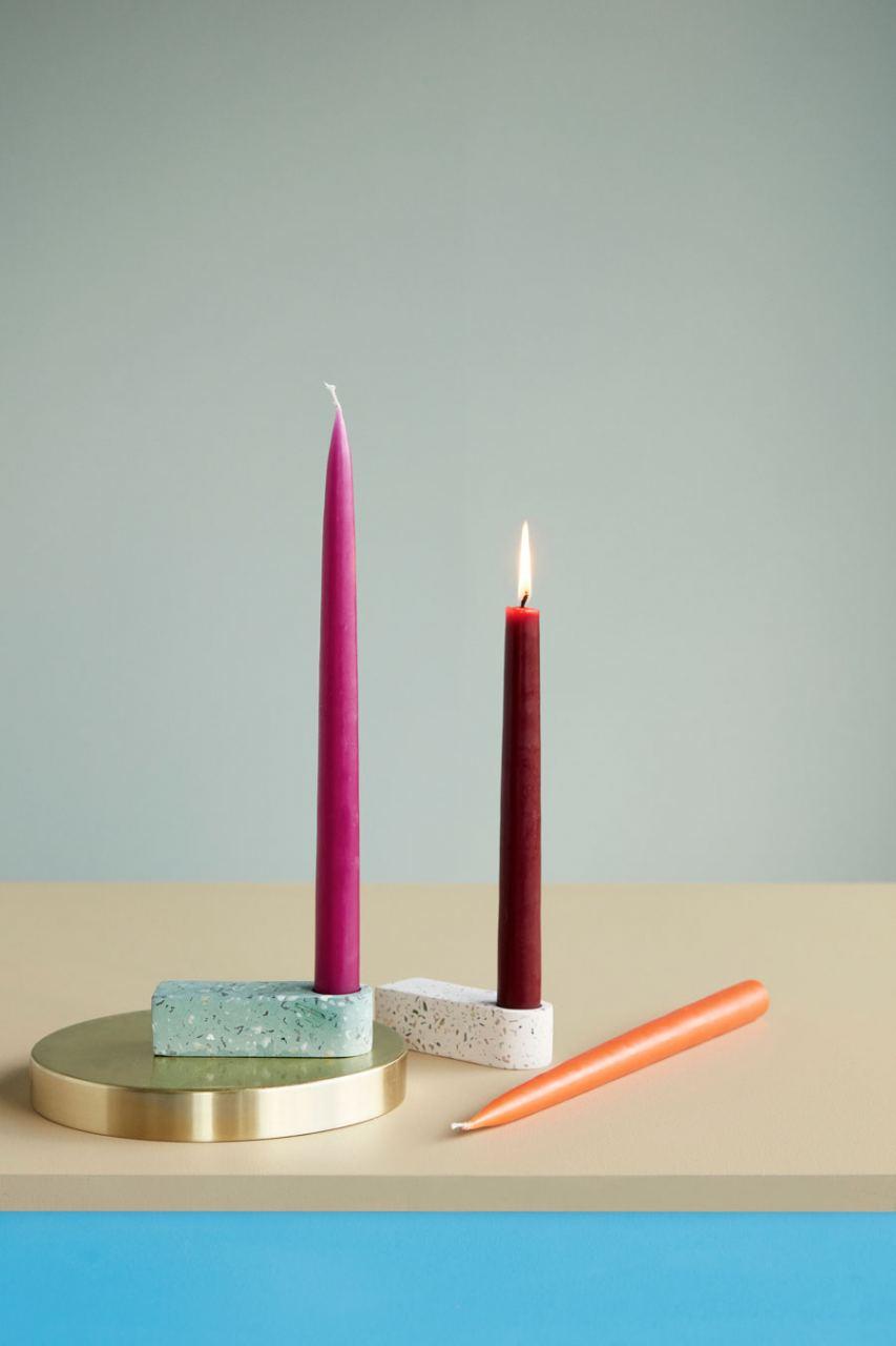 Kerzenhalter Terrazzo Grün