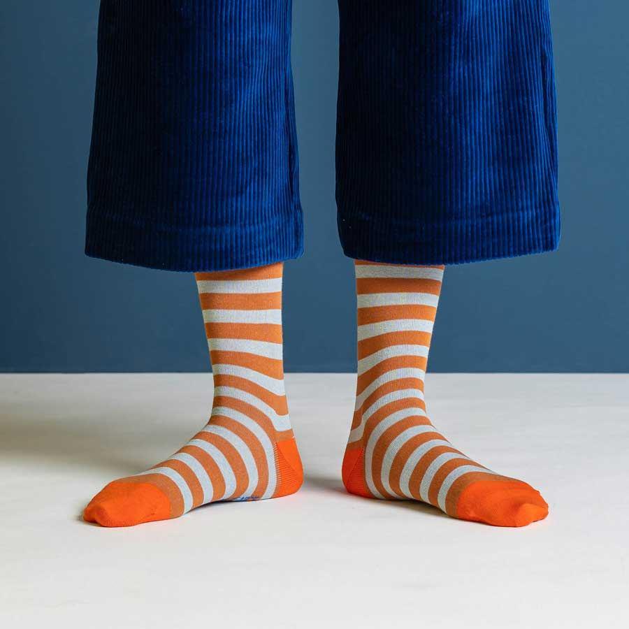 Nice Socks Block Stripes Rust