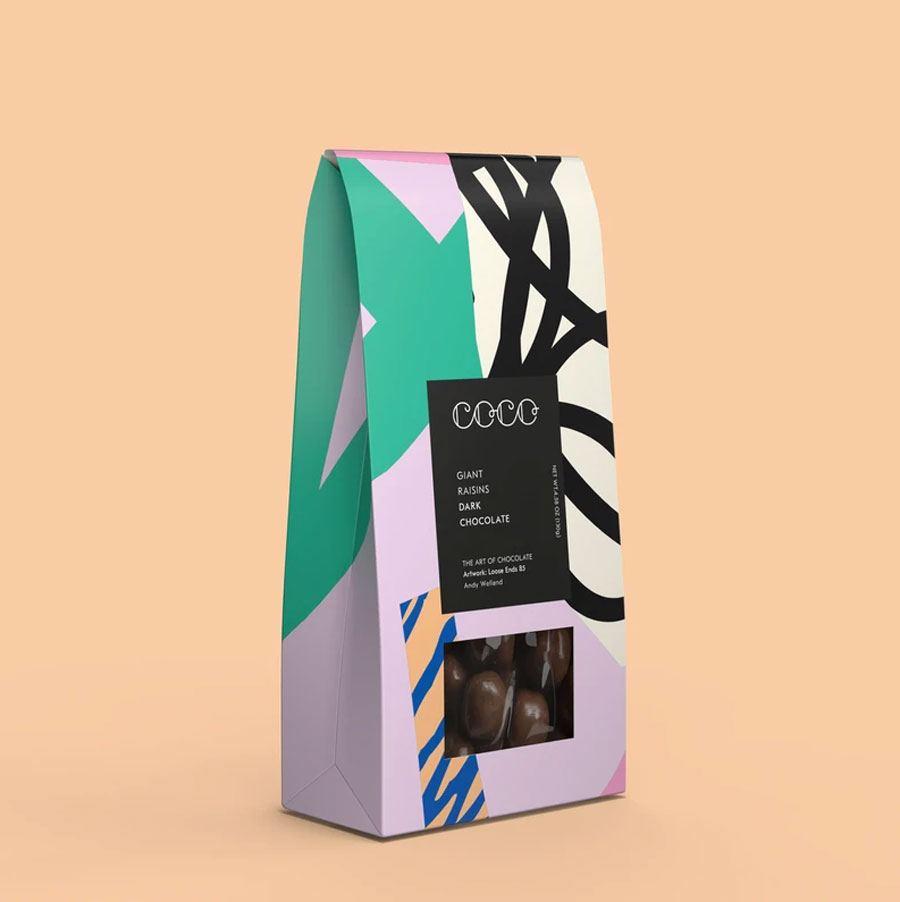 Riesenrosinen in dunkler Schokolade