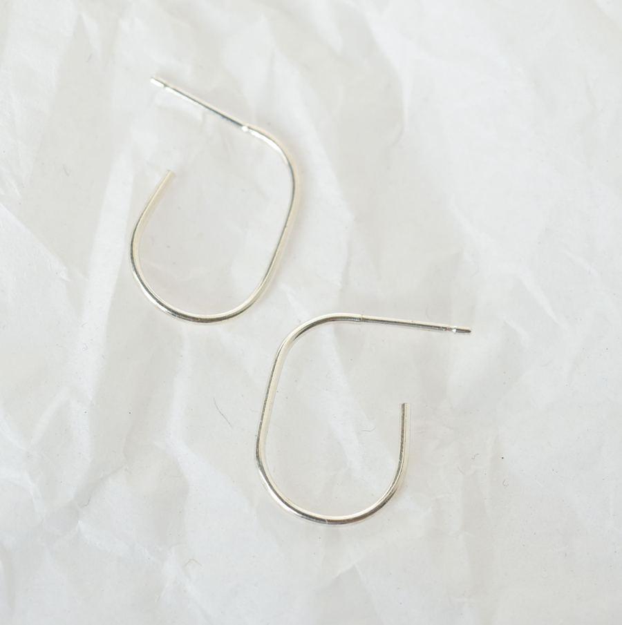 Silver Delicate Oval Hoops Ohrringe