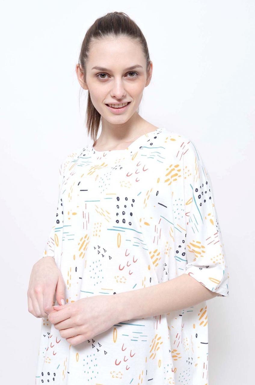 Montie T-Shirtkleid Printed Off White