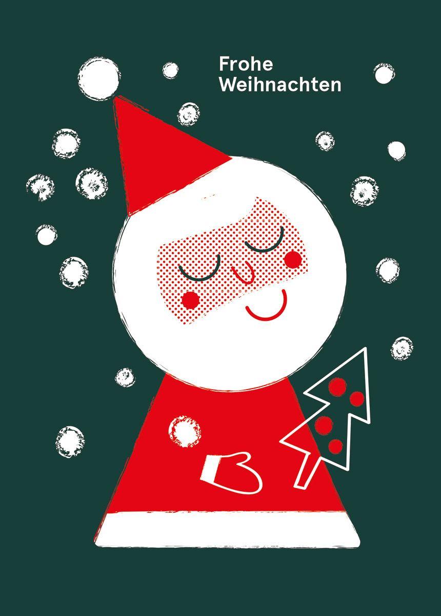 Weihnachtsmann & Baum Postkarte