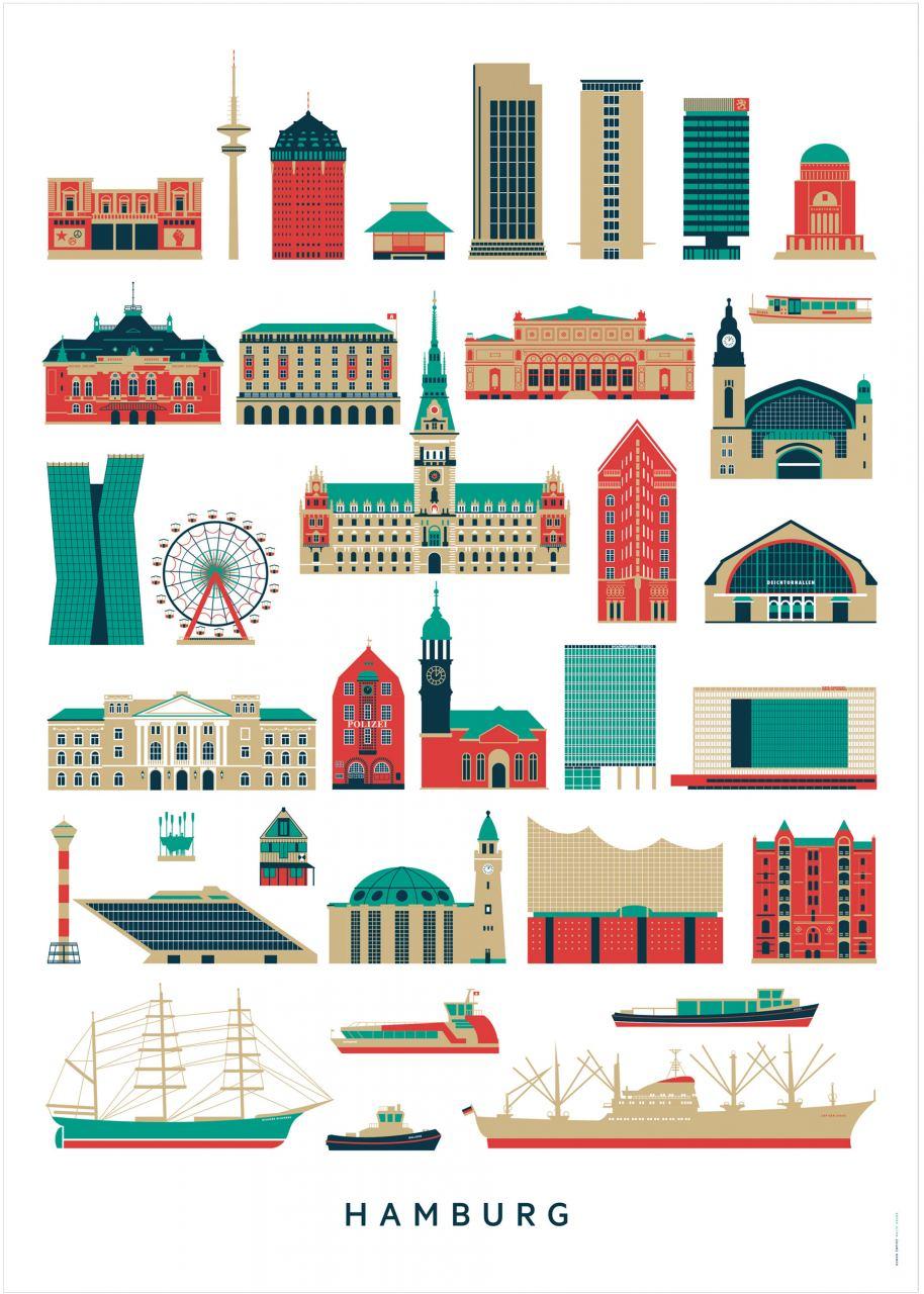 Hamburg Sehenswürdigkeiten Postkarte