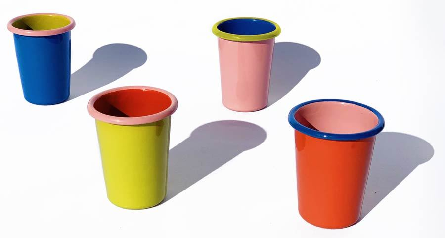 Colorama Tumbler Electric Blue and Chartreuse w/ Soft Pink Rim