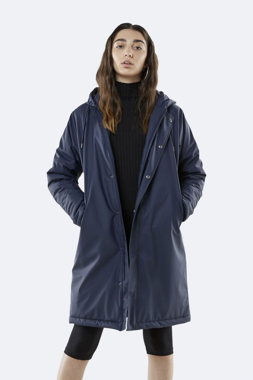 Long Quilted Parka Blue