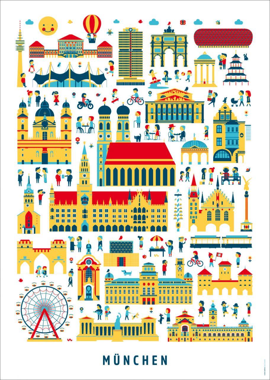 München Wimmelbild Poster (Din A3)