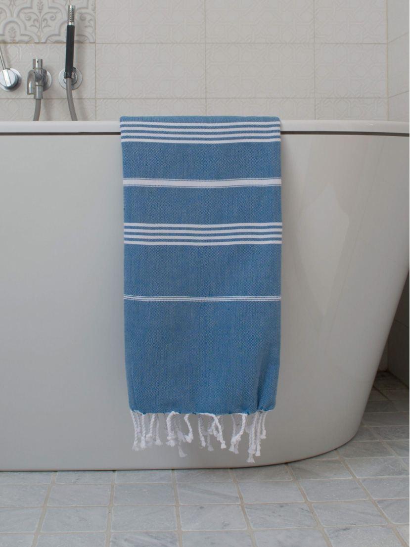 Hammam Tuch Ocean Blue White