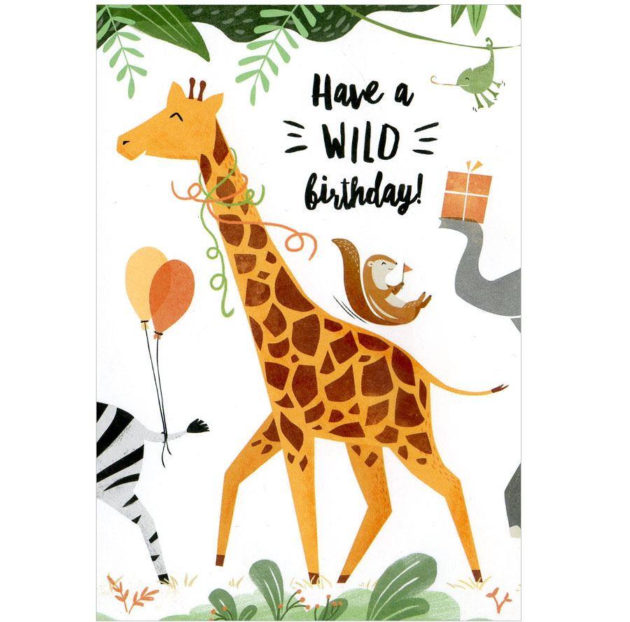 Wild Birthday Giraffe Postkarte
