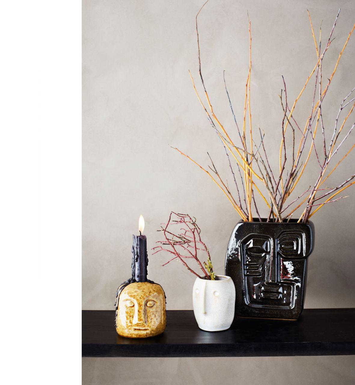 Vase mit Gesicht Schwarz #1