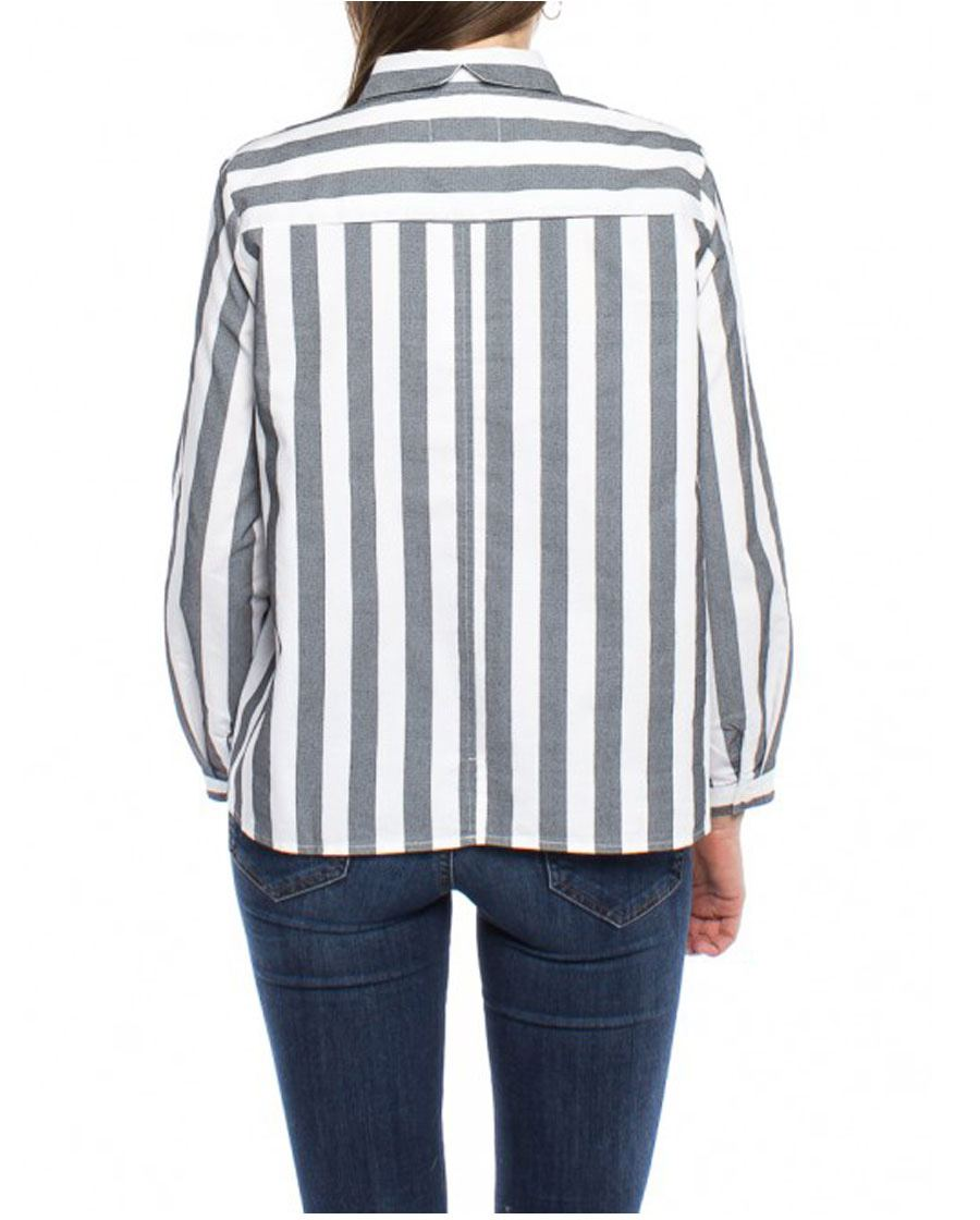 Ida Bluse White Grey Stripe