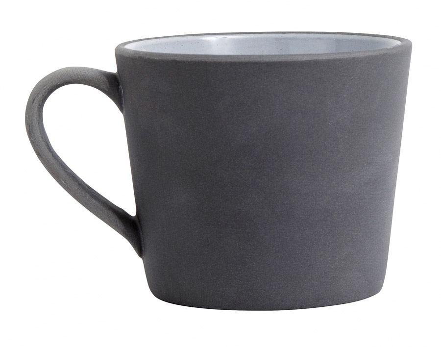 Henkeltasse Steingut Schwarz Weiß
