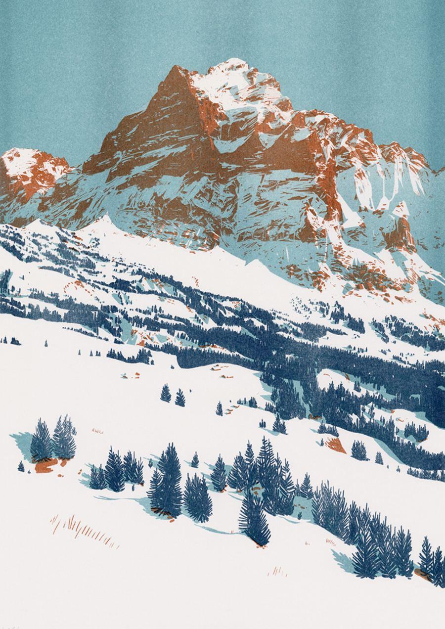 Wetterhorn, Copper Print (Risographie) Din A3