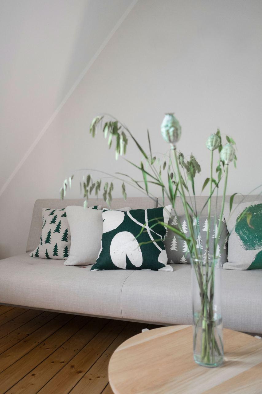 Kissen Water Lilies Green White