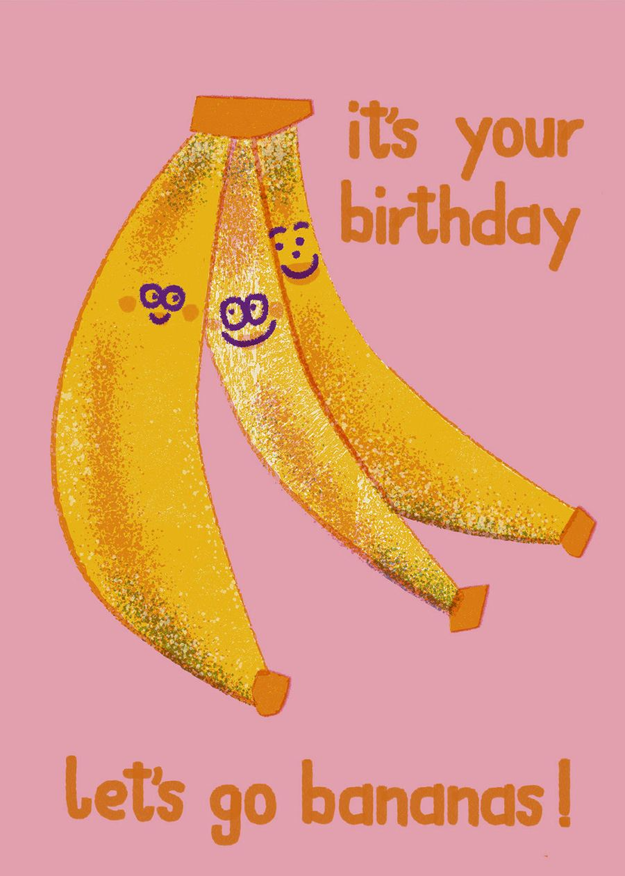 Birthday Bananas Postkarte