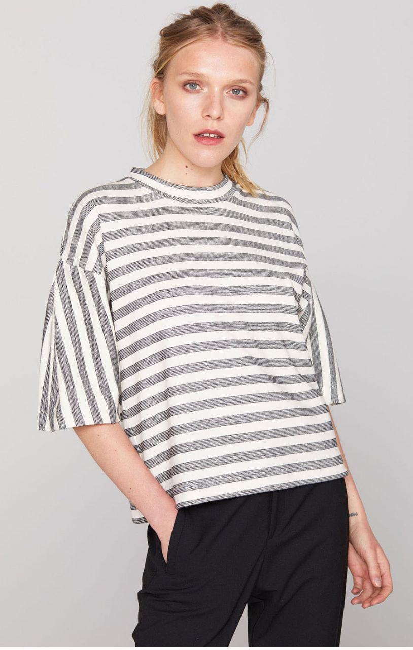 Jules Black White Stripe