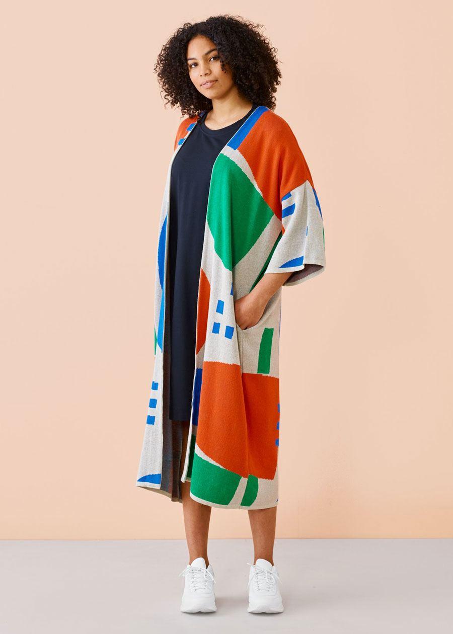 Long Kimono Cardigan Grey Green Red Blue