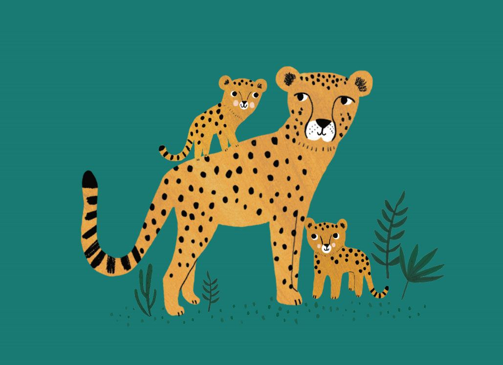 Cheetah and Cubs Postkarte