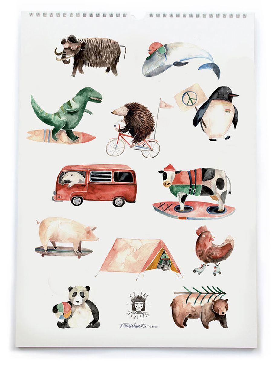 Gretas Schwester Kalender 2021 Cool Animals