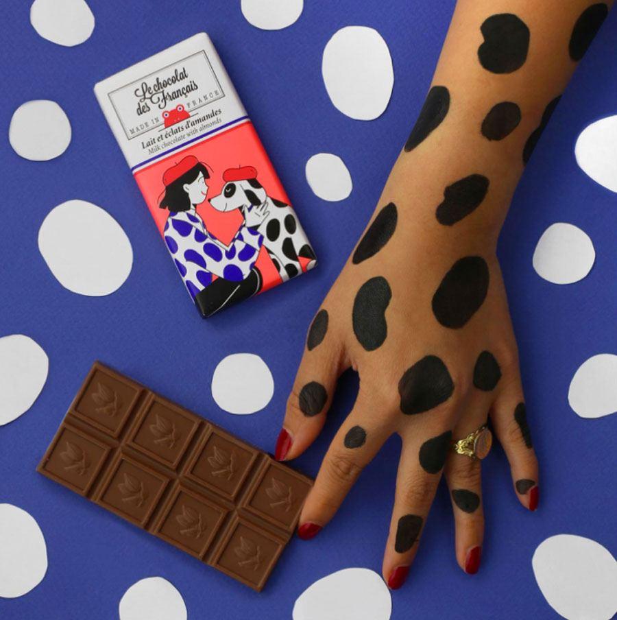 Dalmatien Milchschokolade mit Mandelchips (30g)