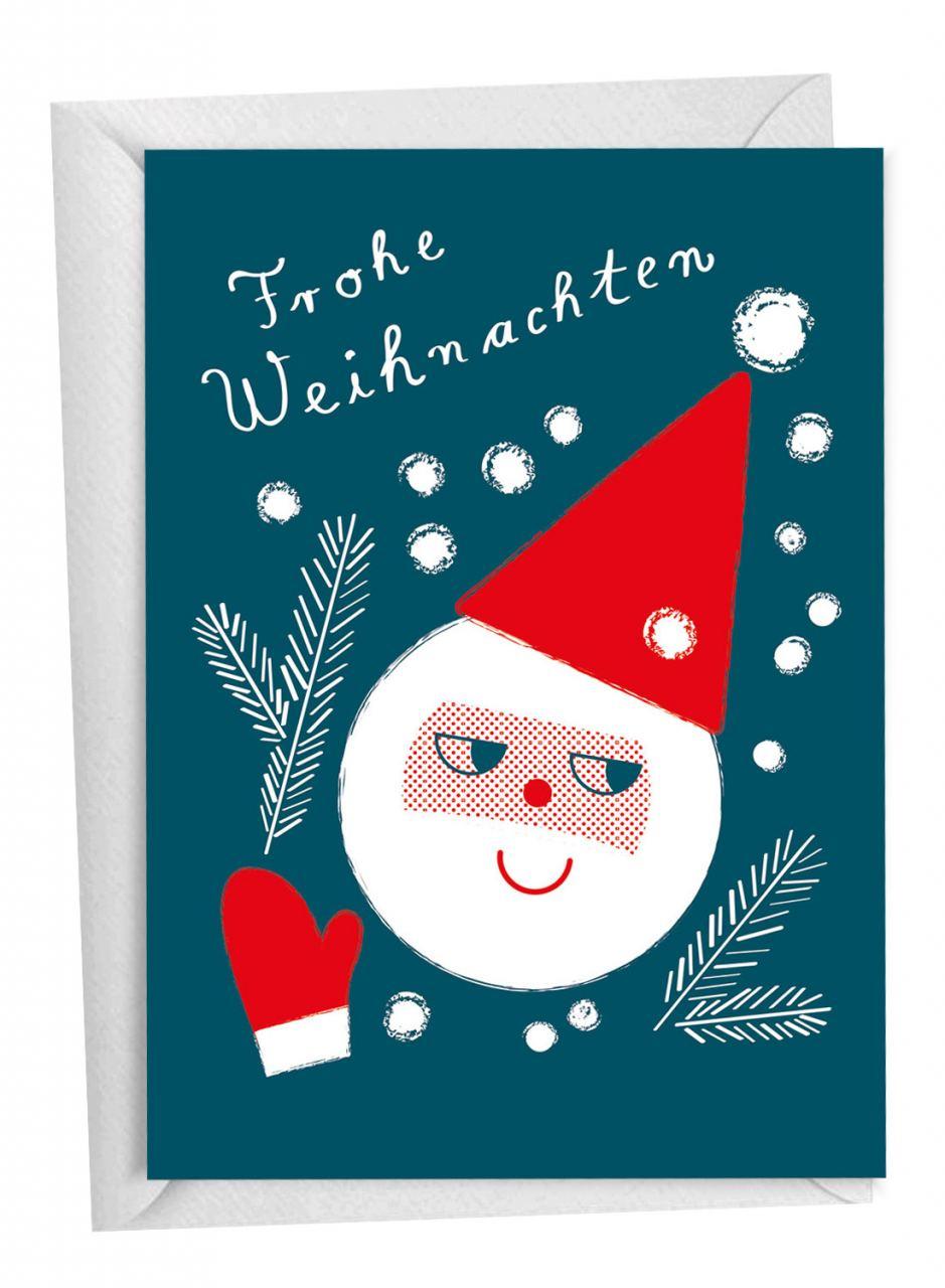 Weihnachtsmann & Zweige Klappkarte