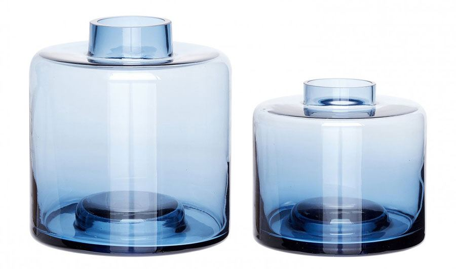 Glasvase Blau (2 Größen)