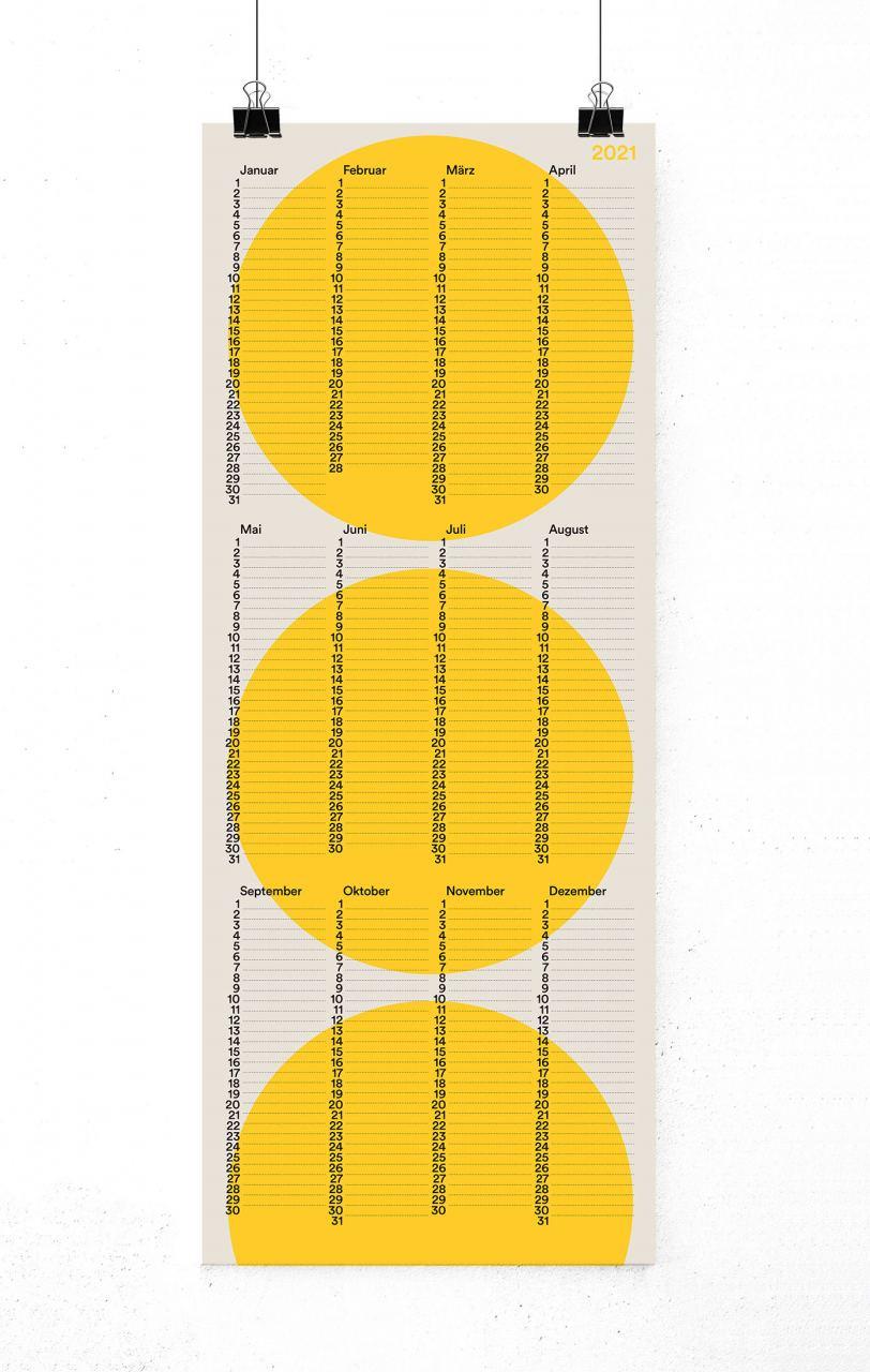 2021 Wandkalender Kreis Gelb (20 x 50 cm)