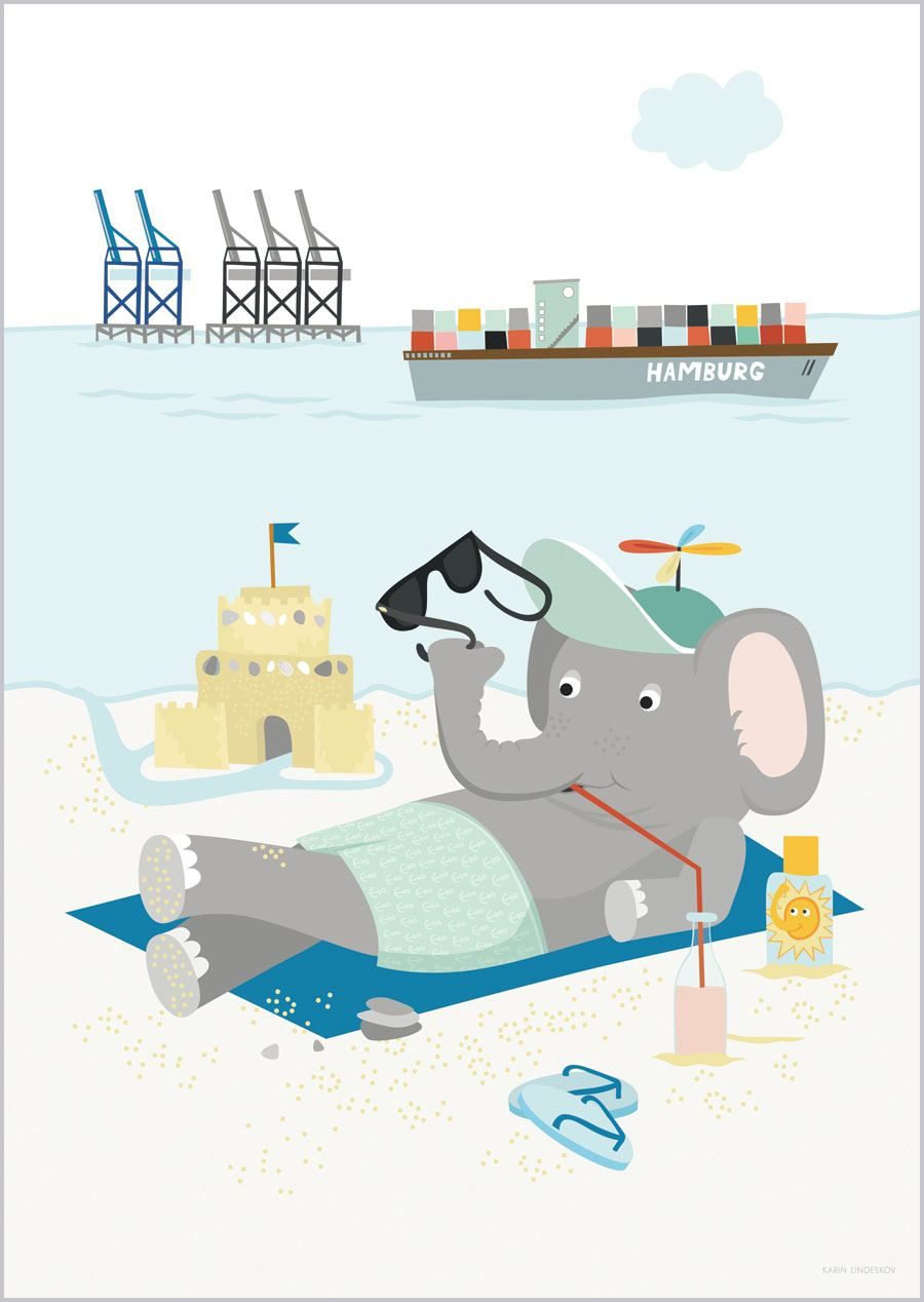 Elefant am Elbstrand Print (Din A3)