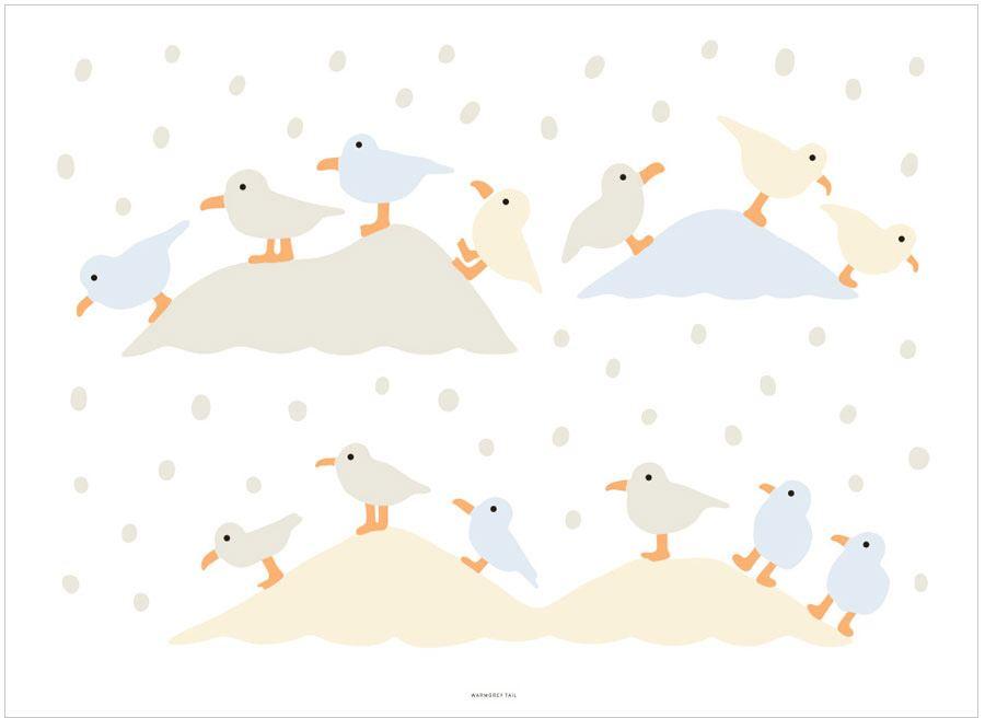 Gulls Landing Poster (30x40cm)