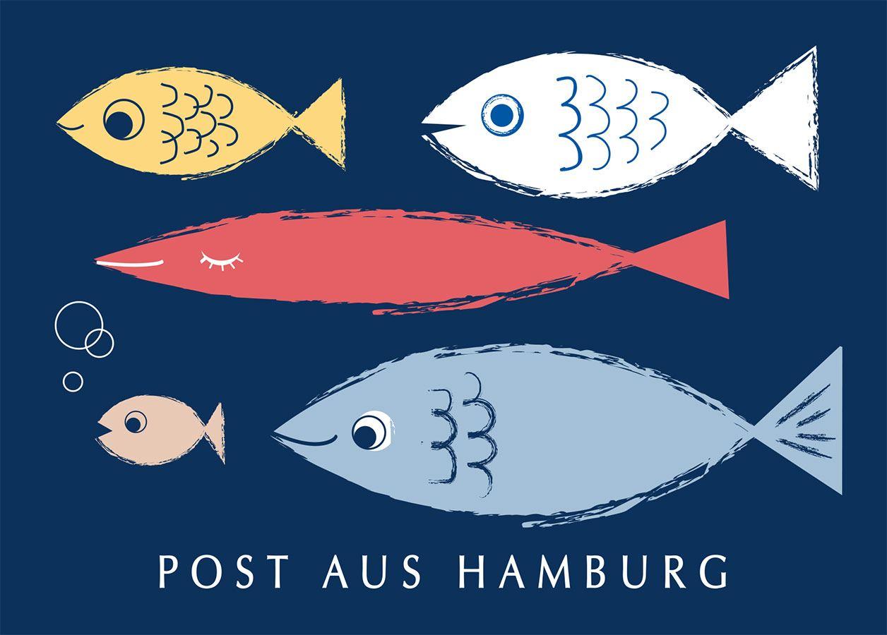 Hamburg Fische Blau Postkarte