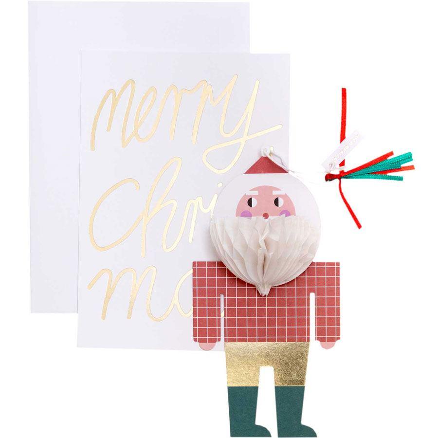 Kartenset mit Pop-Up Anhänger Weihnachtsmann