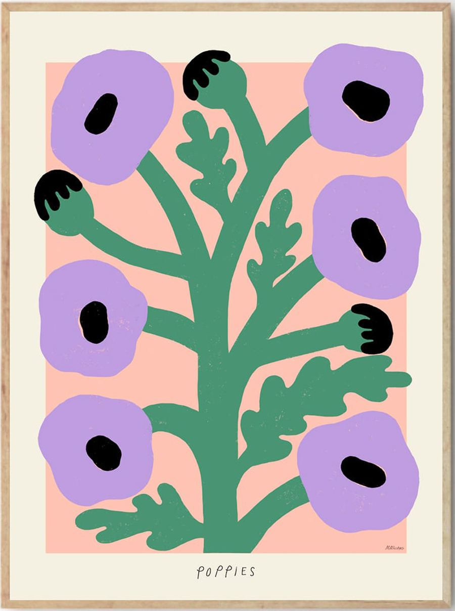 Purple Poppies Poster (50x70cm)