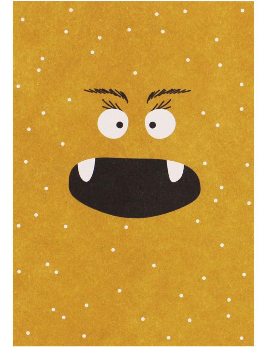 Monster Gelb mit Punkten Postkarte