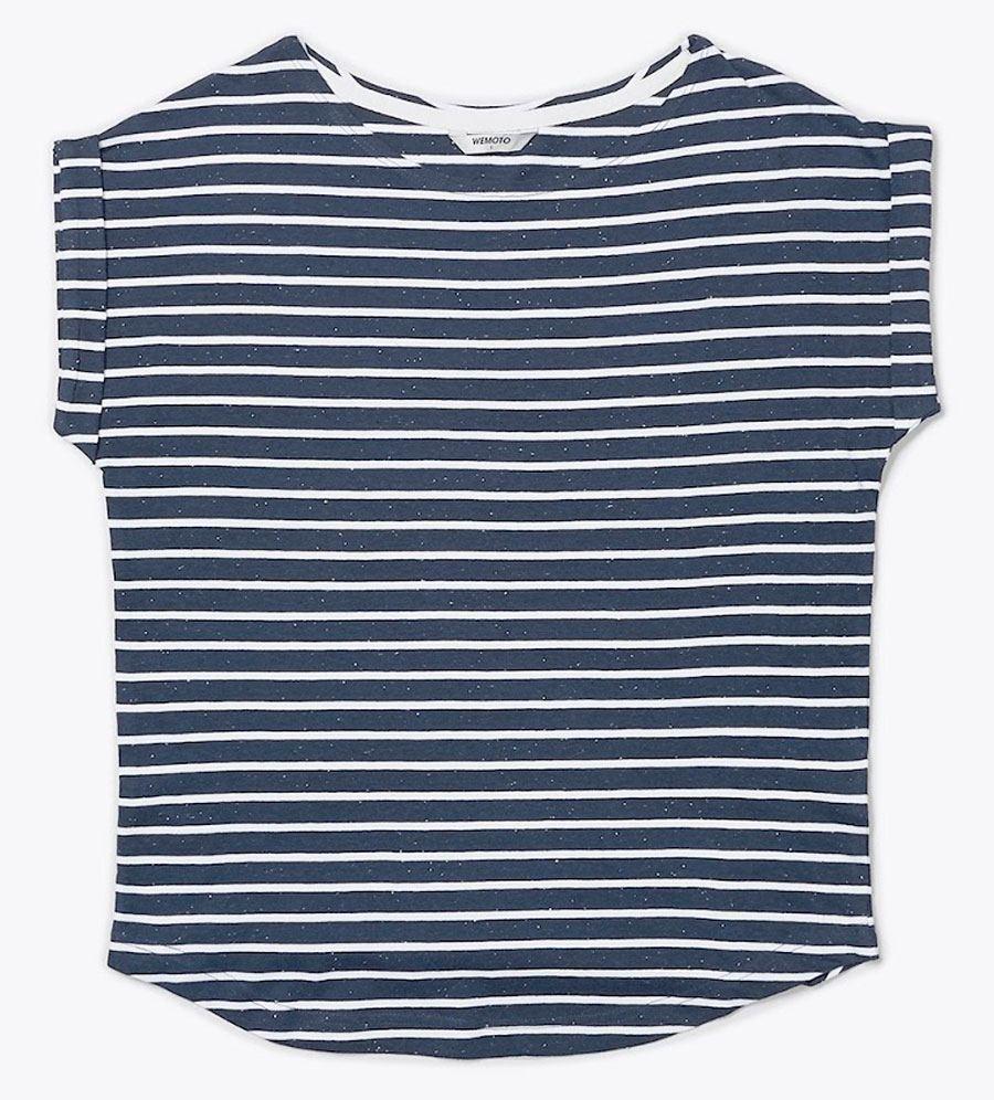 Bell Shirt Navy Blue Nep White