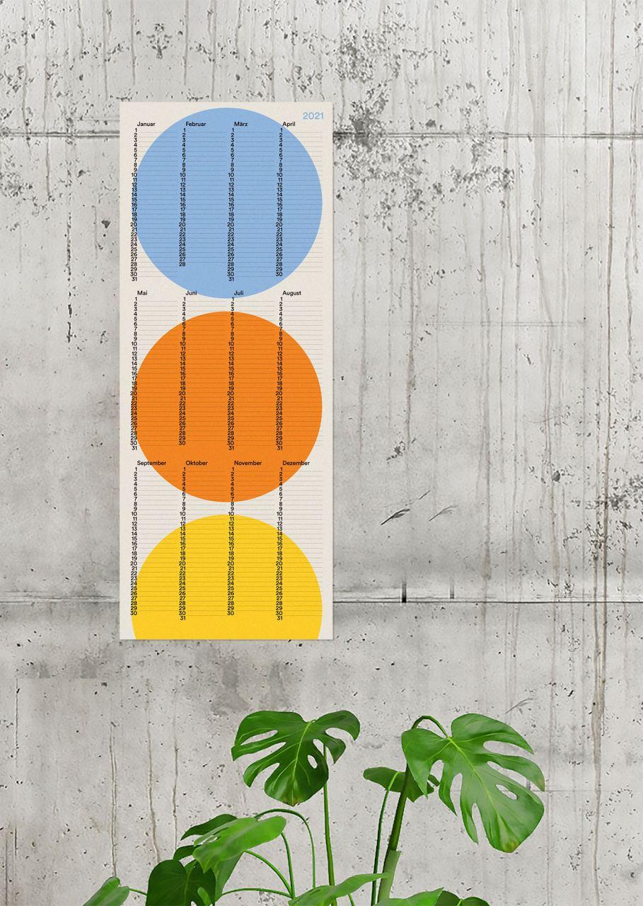 2021 Wandkalender Kreis (20 x 50 cm)