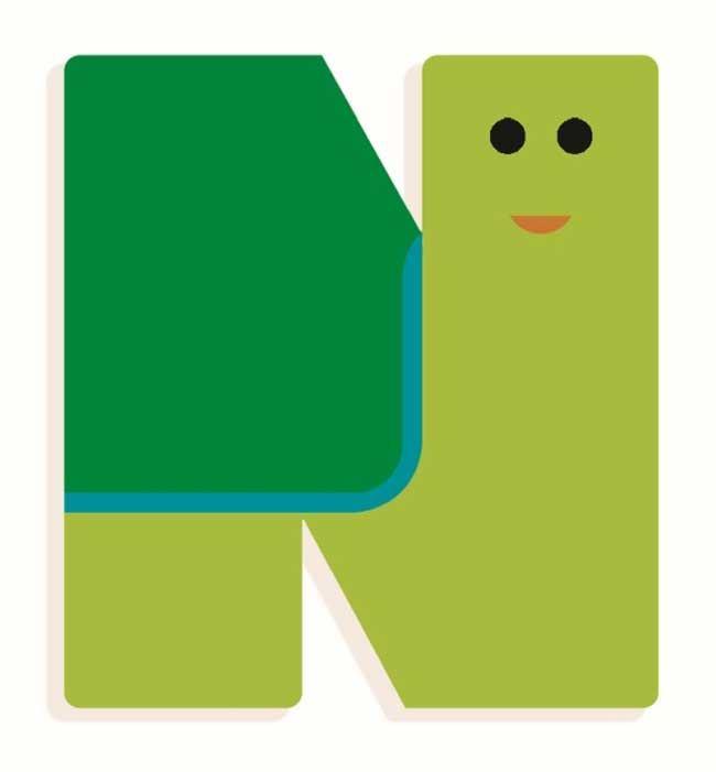 Tierbuchstabe N Grün