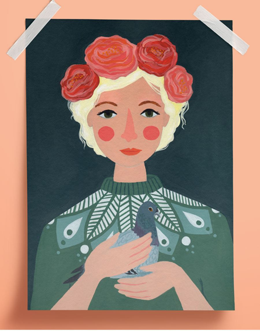 Girl with a Pigeon Poster (A4)