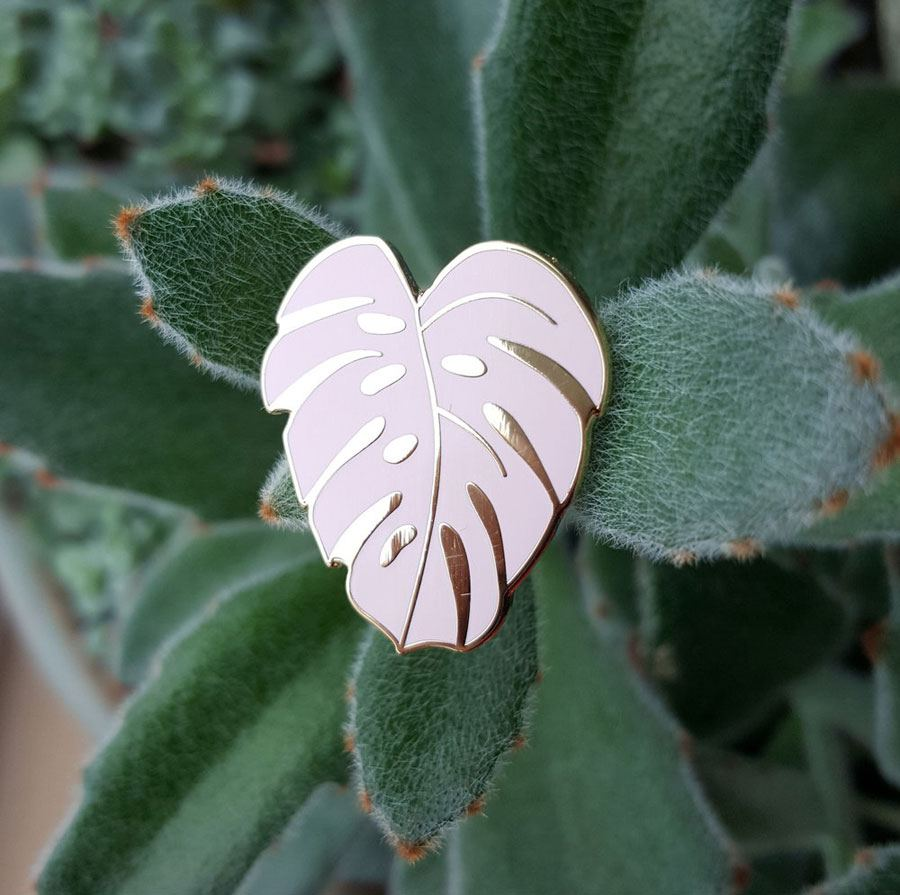 Monstera Leaf Perfect Pink Pin