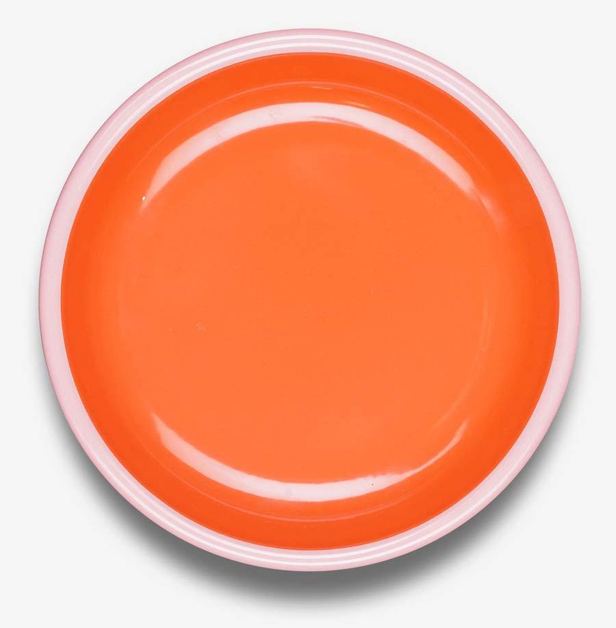 Colorama Plate Coral w/ Soft Pink Rim