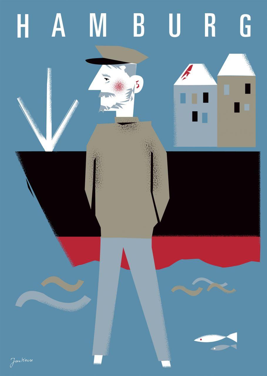 Hamburg Seebär Blau Postkarte