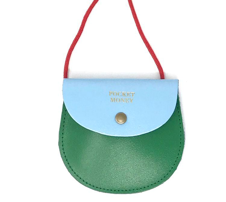 Two Tone Pocket Money Purse Green / Light Blue