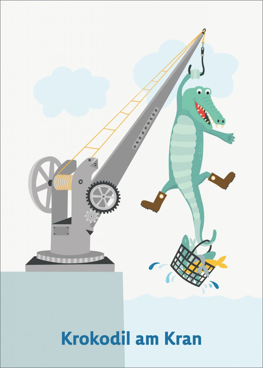 Krokodil am Kran Postkarte