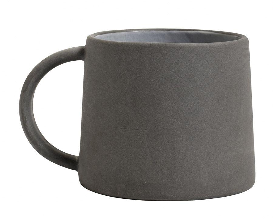Tasse Steingut Schwarz Weiß