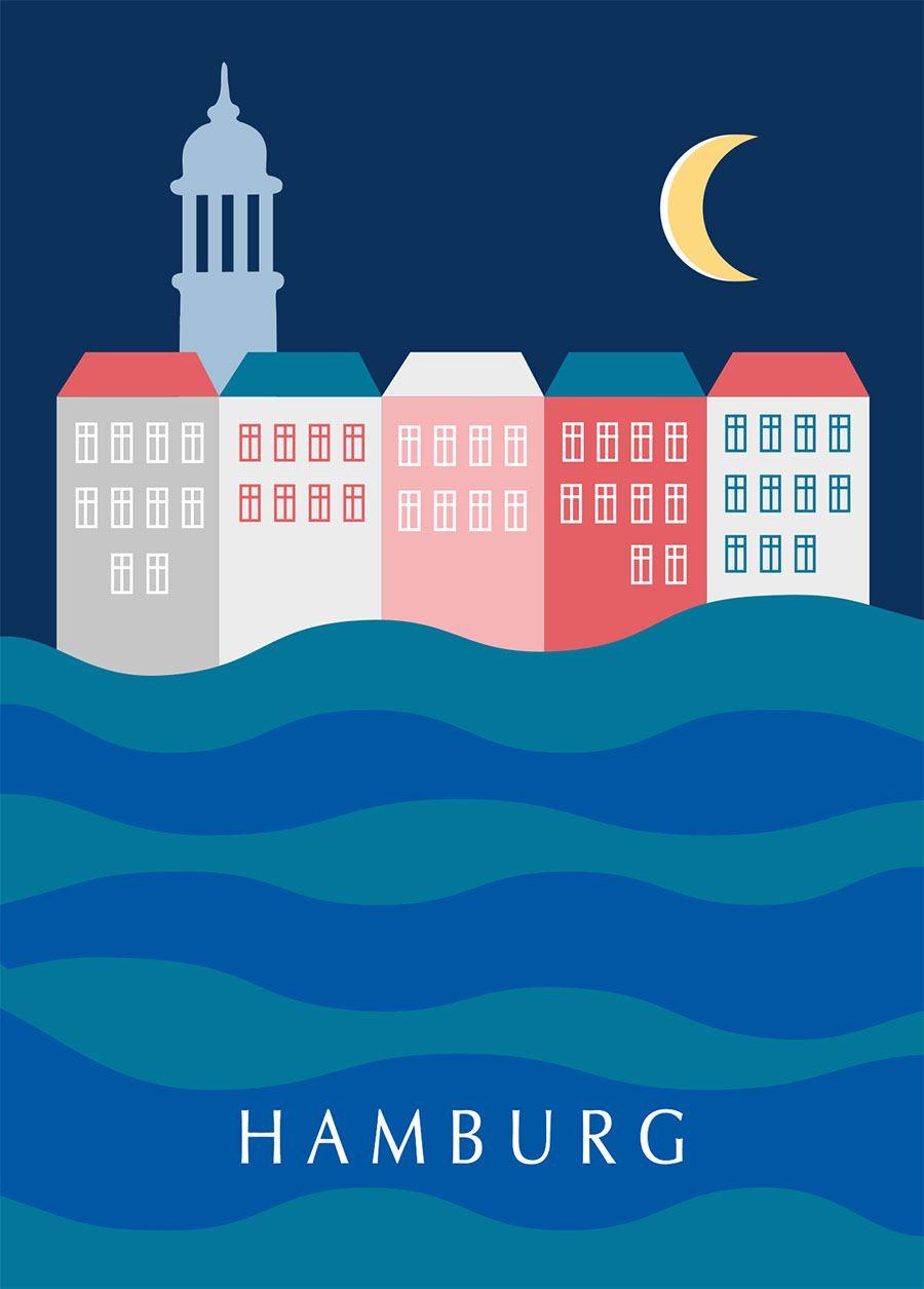 Hamburg Nacht Postkarte