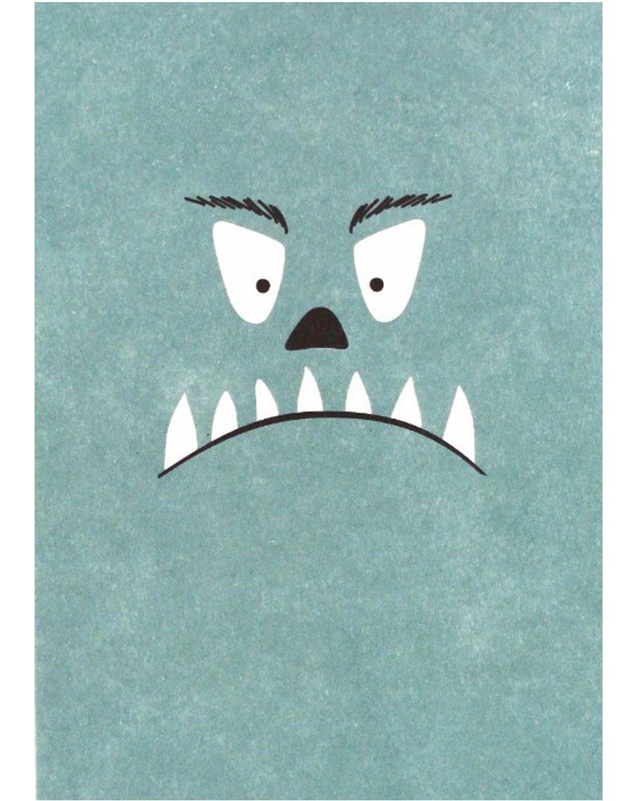 Monster Hellblau Postkarte