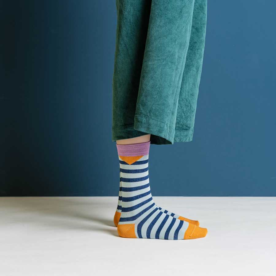 Friendly Socks Block Stripes Blue Petrol