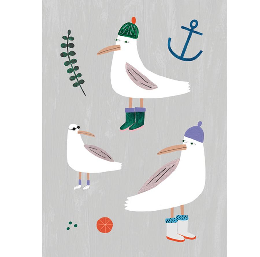 Möwen Postkarte